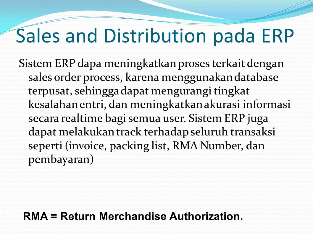 Sales and Distribution pada ERP