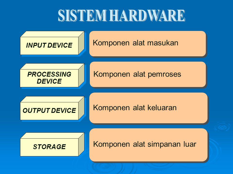 Komponen alat pemroses Komponen alat masukan