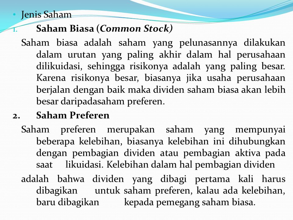 Jenis Saham Saham Biasa (Common Stock)