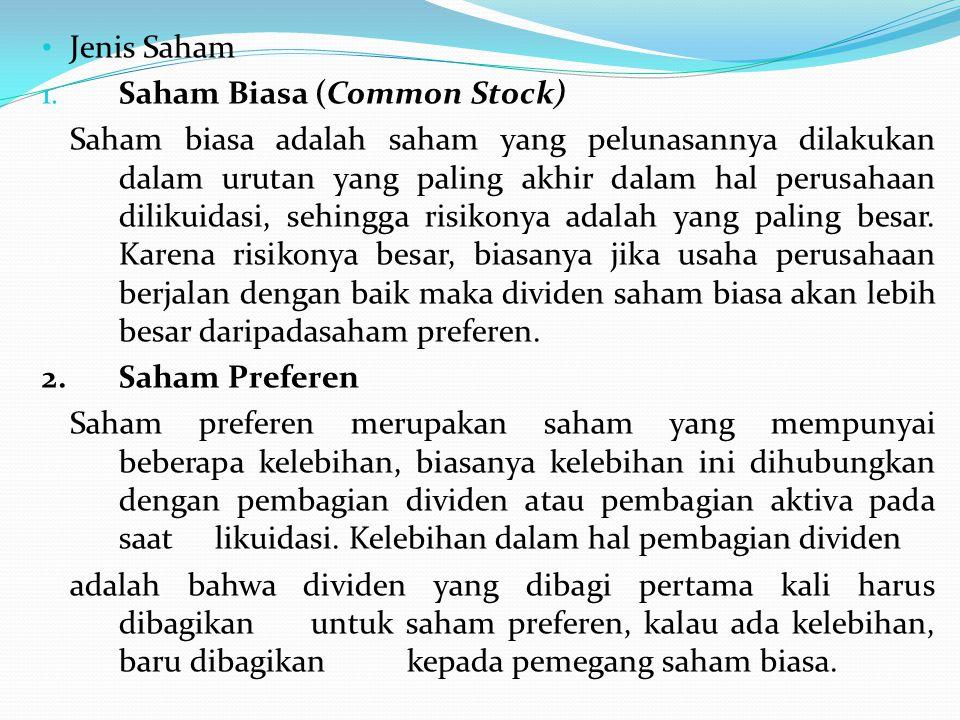 Jenis Saham Saham Biasa (Common Stock)