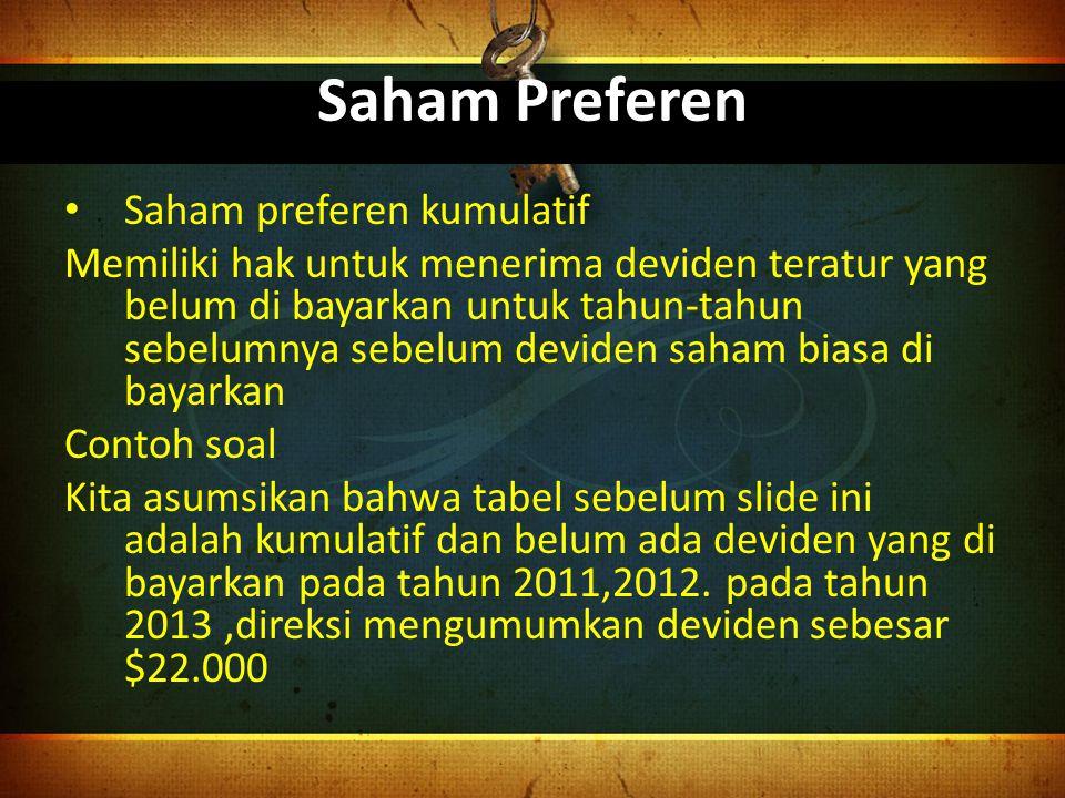 Saham Preferen Saham preferen kumulatif