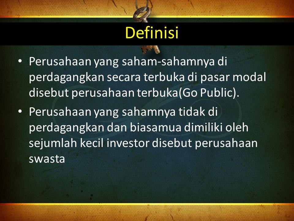 Definisi Perusahaan yang saham-sahamnya di perdagangkan secara terbuka di pasar modal disebut perusahaan terbuka(Go Public).