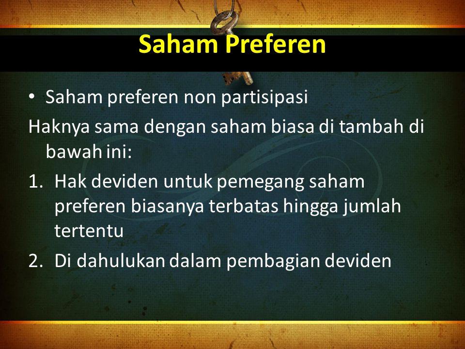Saham Preferen Saham preferen non partisipasi
