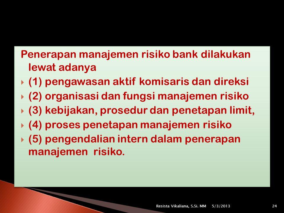 Penerapan manajemen risiko bank dilakukan lewat adanya