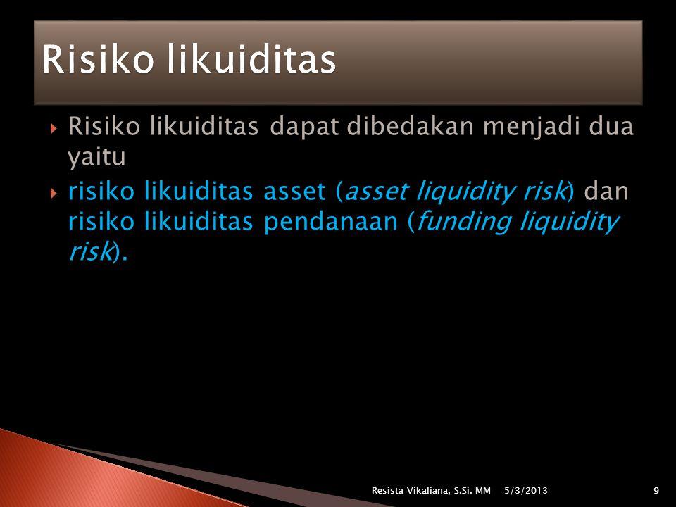 Risiko likuiditas Risiko likuiditas dapat dibedakan menjadi dua yaitu