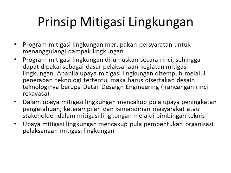 Prinsip Mitigasi Lingkungan