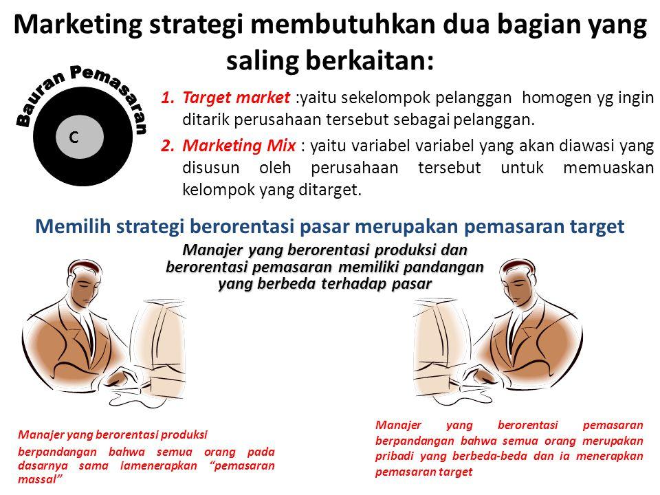 Marketing strategi membutuhkan dua bagian yang saling berkaitan: