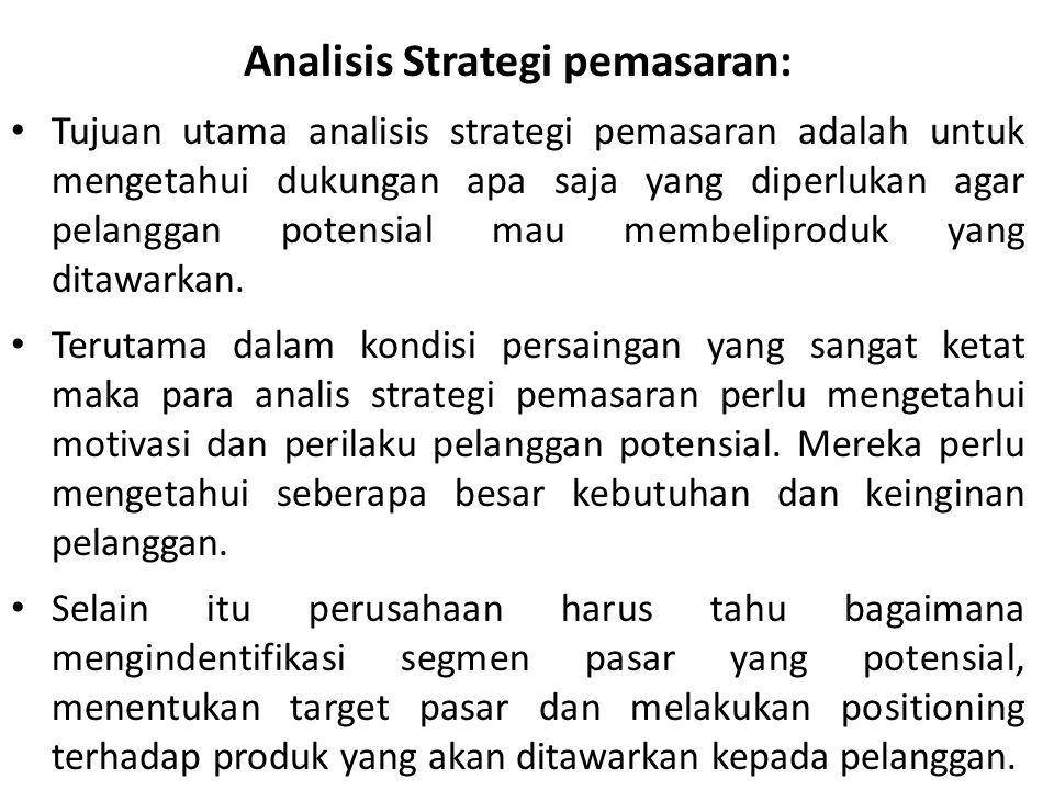 Analisis Strategi pemasaran: