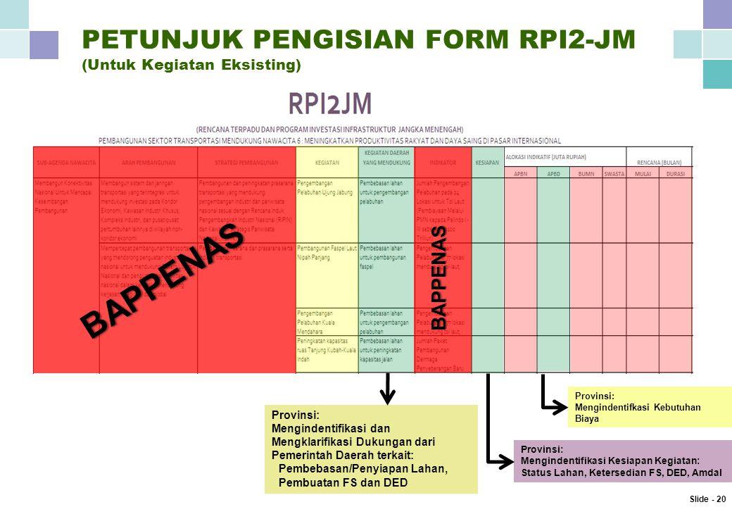 PETUNJUK PENGISIAN FORM RPI2-JM (Untuk Kegiatan Eksisting)