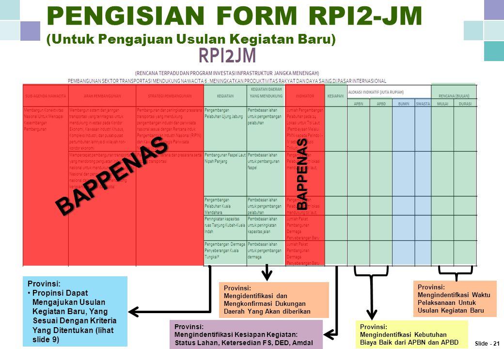 PENGISIAN FORM RPI2-JM (Untuk Pengajuan Usulan Kegiatan Baru)