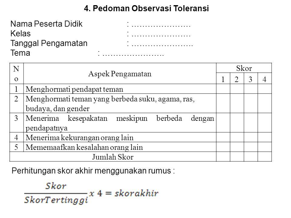 4. Pedoman Observasi Toleransi