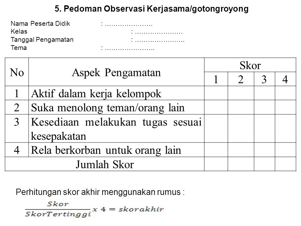 5. Pedoman Observasi Kerjasama/gotongroyong