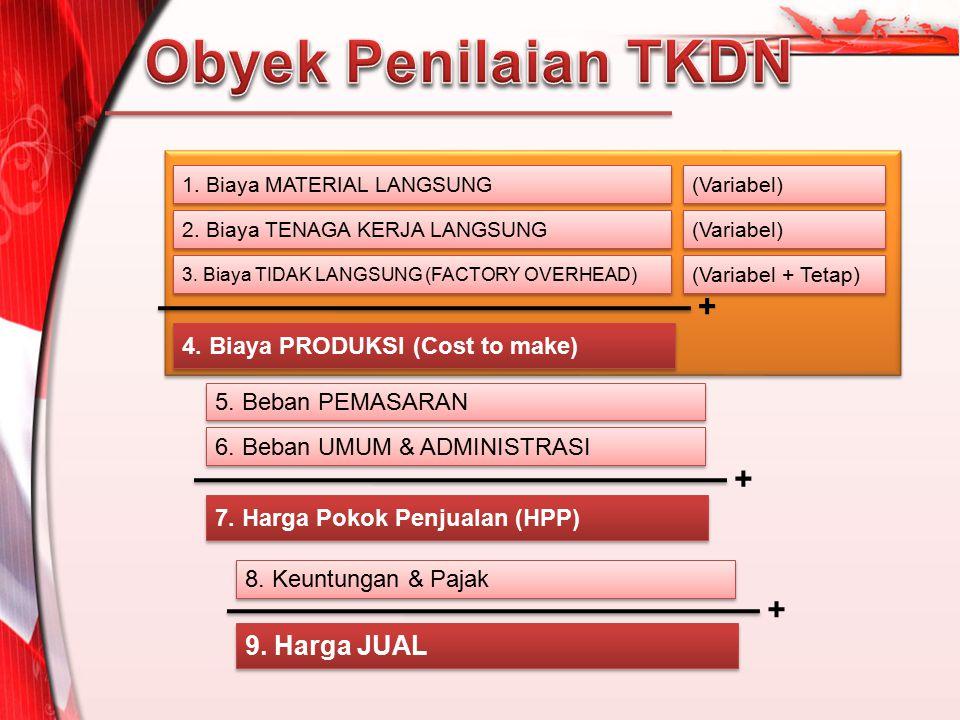 Obyek Penilaian TKDN + + + 9. Harga JUAL