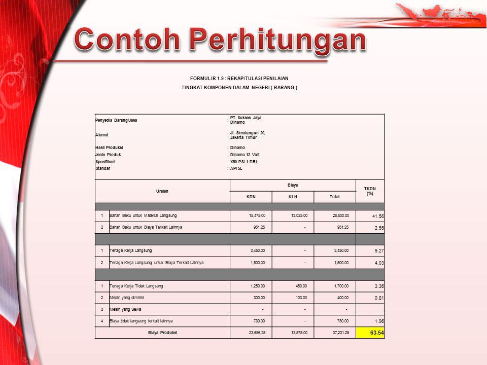 Contoh Perhitungan 63.54 FORMULIR 1.9 : REKAPITULASI PENILAIAN