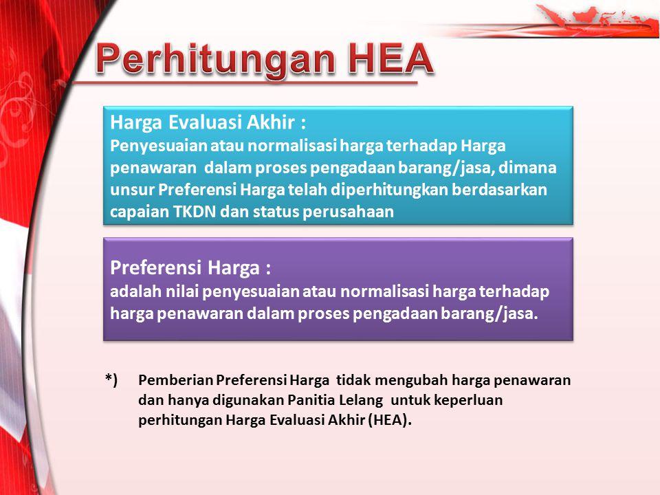 Perhitungan HEA Harga Evaluasi Akhir : Preferensi Harga :