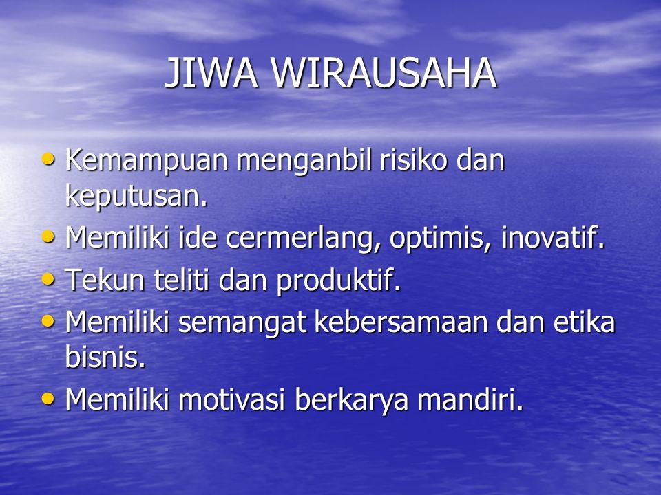 JIWA WIRAUSAHA Kemampuan menganbil risiko dan keputusan.