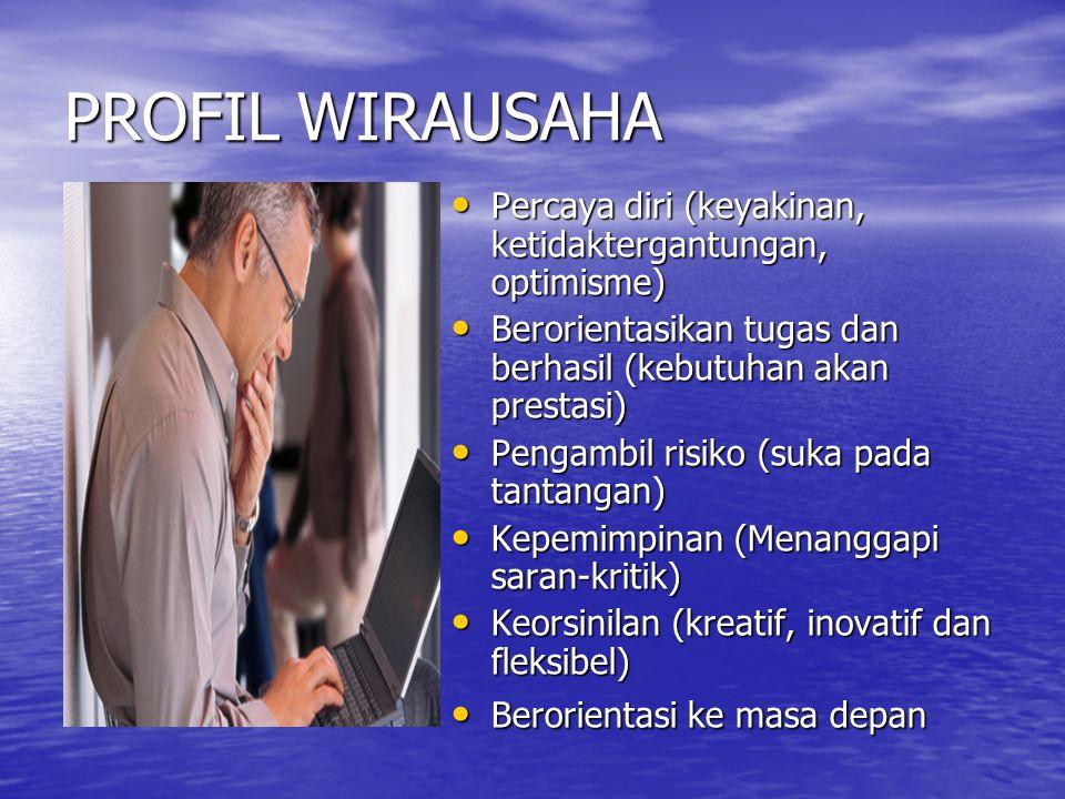 PROFIL WIRAUSAHA Percaya diri (keyakinan, ketidaktergantungan, optimisme) Berorientasikan tugas dan berhasil (kebutuhan akan prestasi)