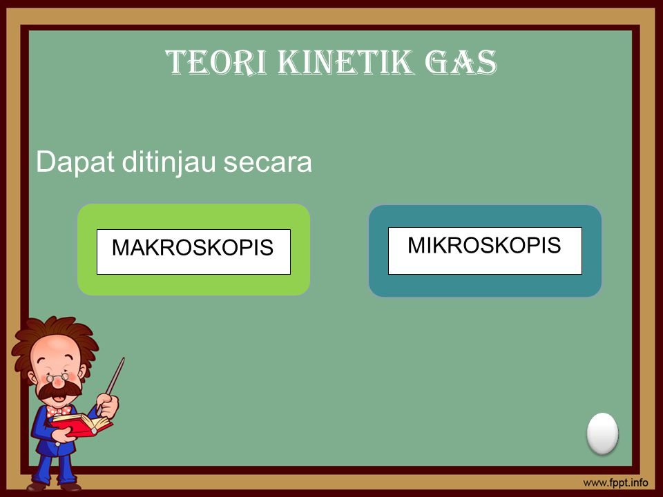 Teori Kinetik Gas Dapat ditinjau secara MAKROSKOPIS MIKROSKOPIS