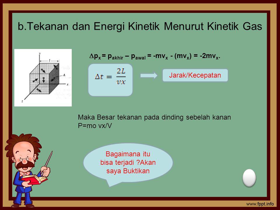 b.Tekanan dan Energi Kinetik Menurut Kinetik Gas