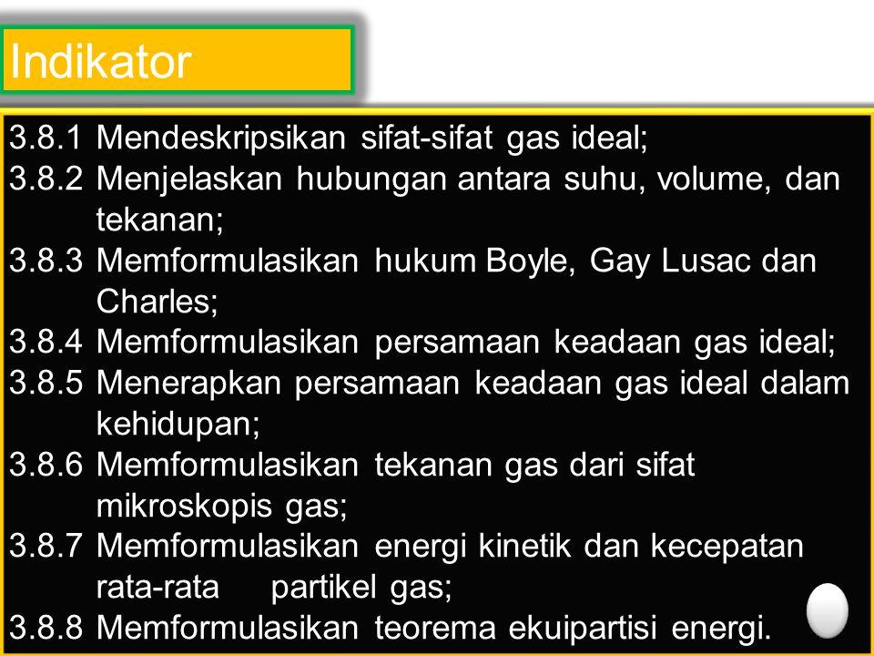Indikator 3.8.1 Mendeskripsikan sifat-sifat gas ideal;