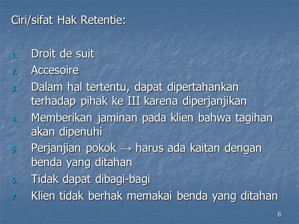 Ciri/sifat Hak Retentie: