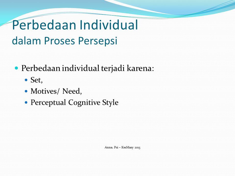 Perbedaan Individual dalam Proses Persepsi