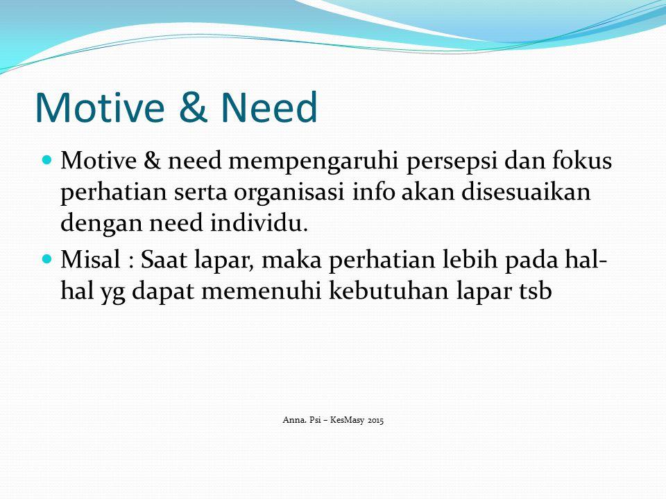 Motive & Need Motive & need mempengaruhi persepsi dan fokus perhatian serta organisasi info akan disesuaikan dengan need individu.