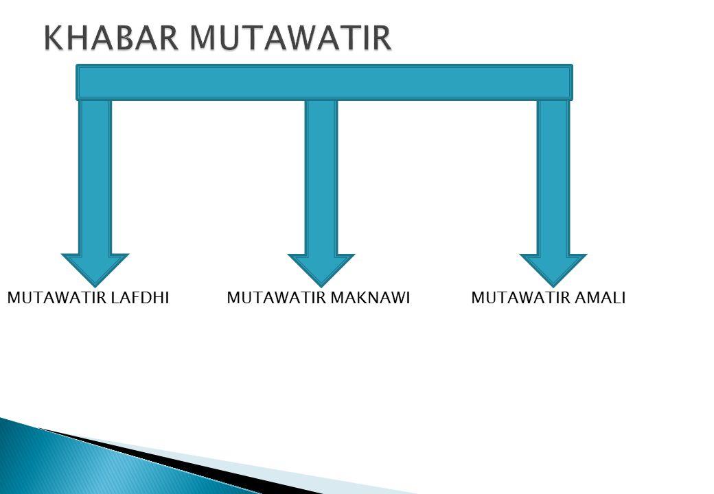 KHABAR MUTAWATIR MUTAWATIR LAFDHI MUTAWATIR MAKNAWI MUTAWATIR AMALI