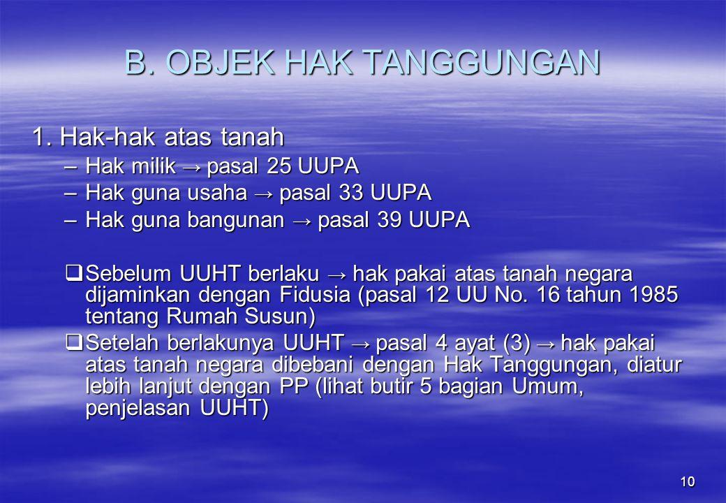 B. OBJEK HAK TANGGUNGAN 1. Hak-hak atas tanah