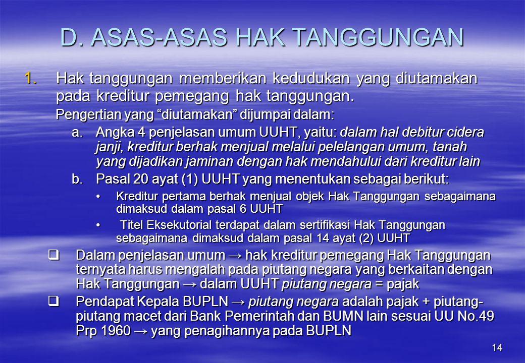 D. ASAS-ASAS HAK TANGGUNGAN