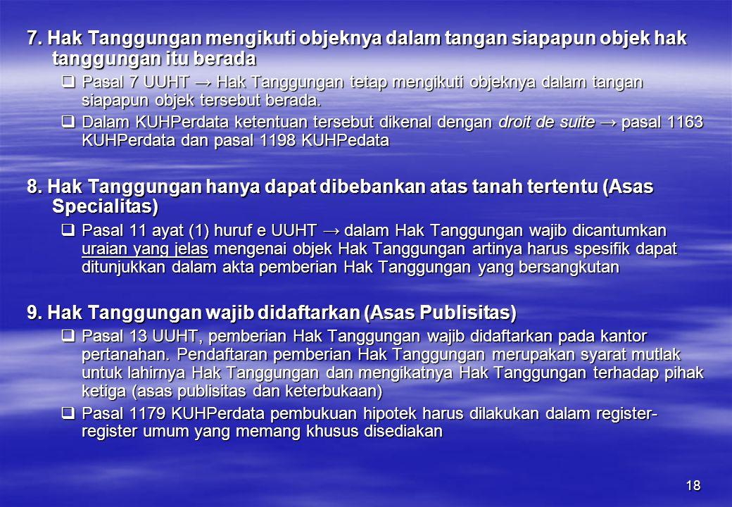 9. Hak Tanggungan wajib didaftarkan (Asas Publisitas)