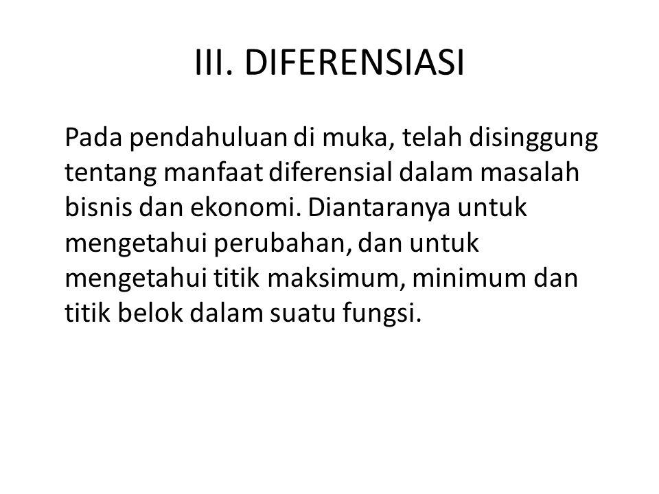 III. DIFERENSIASI