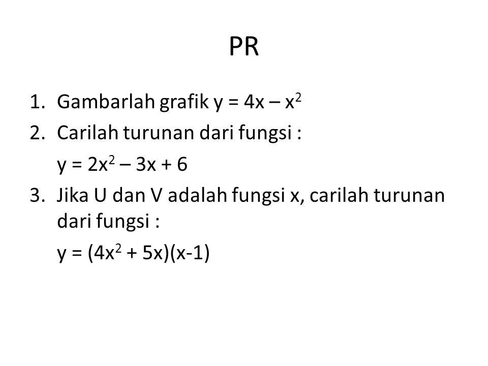 PR Gambarlah grafik y = 4x – x2 Carilah turunan dari fungsi :