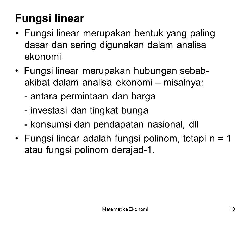 Fungsi linear • Fungsi linear merupakan bentuk yang paling dasar dan sering digunakan dalam analisa ekonomi.