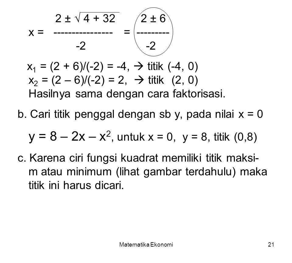 y = 8 – 2x – x2, untuk x = 0, y = 8, titik (0,8)