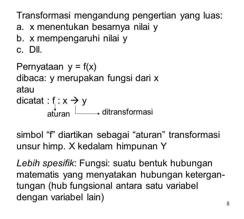 Transformasi mengandung pengertian yang luas: a