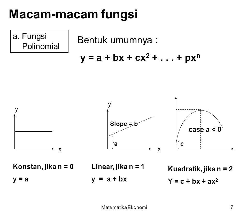 Macam-macam fungsi Bentuk umumnya : y = a + bx + cx2 + . . . + pxn