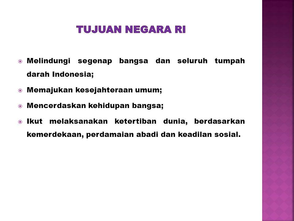 Tujuan negara ri Melindungi segenap bangsa dan seluruh tumpah darah Indonesia; Memajukan kesejahteraan umum;