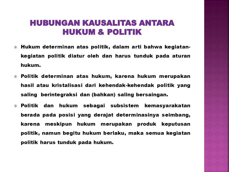Hubungan kausalitas antara hukum & politik