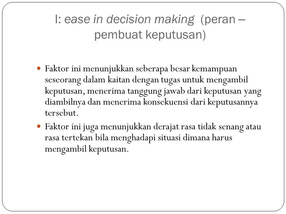 I: ease in decision making (peran – pembuat keputusan)