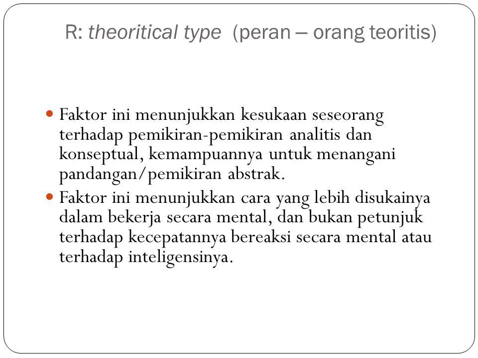 R: theoritical type (peran – orang teoritis)