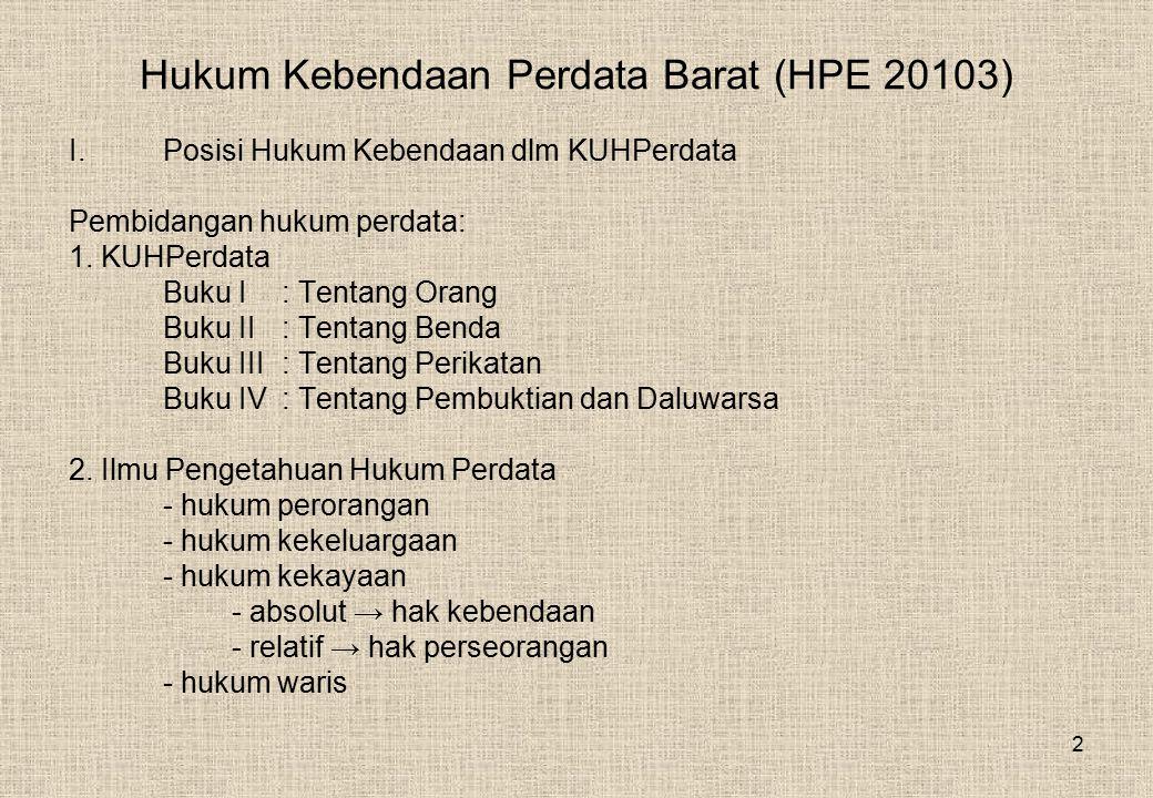 Hukum Kebendaan Perdata Barat (HPE 20103)