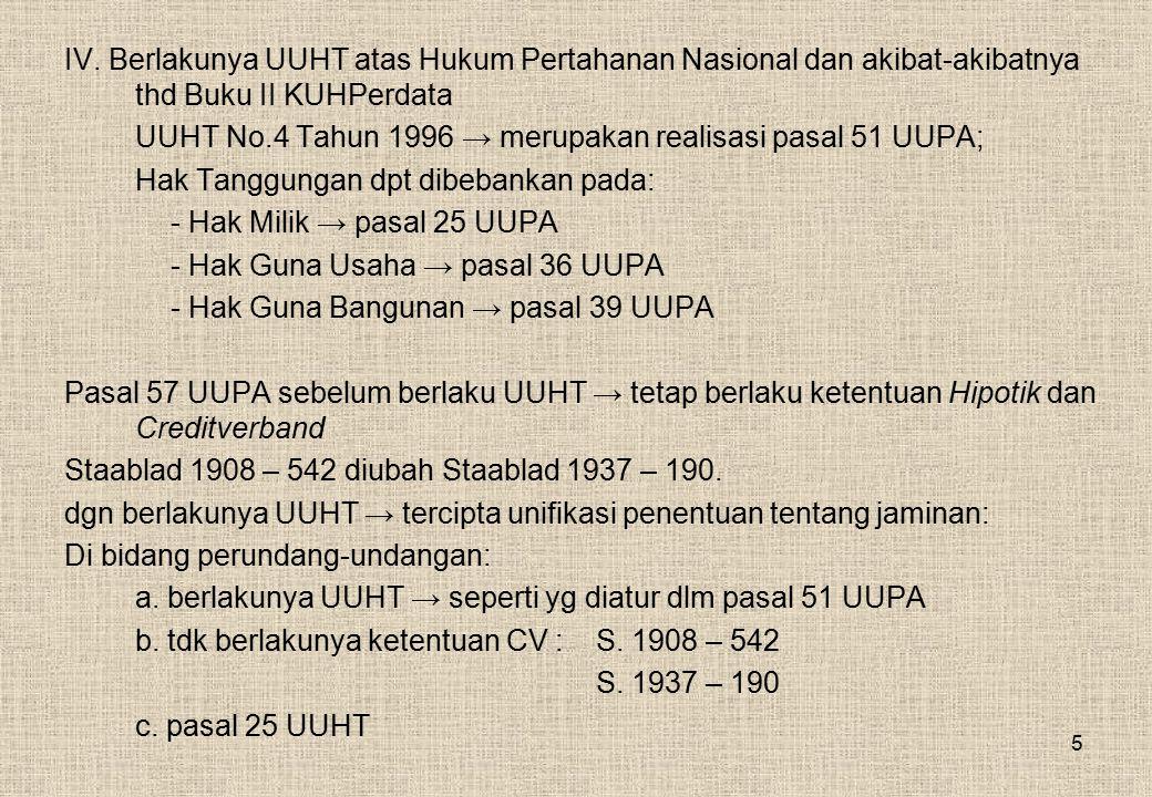 IV. Berlakunya UUHT atas Hukum Pertahanan Nasional dan akibat-akibatnya thd Buku II KUHPerdata