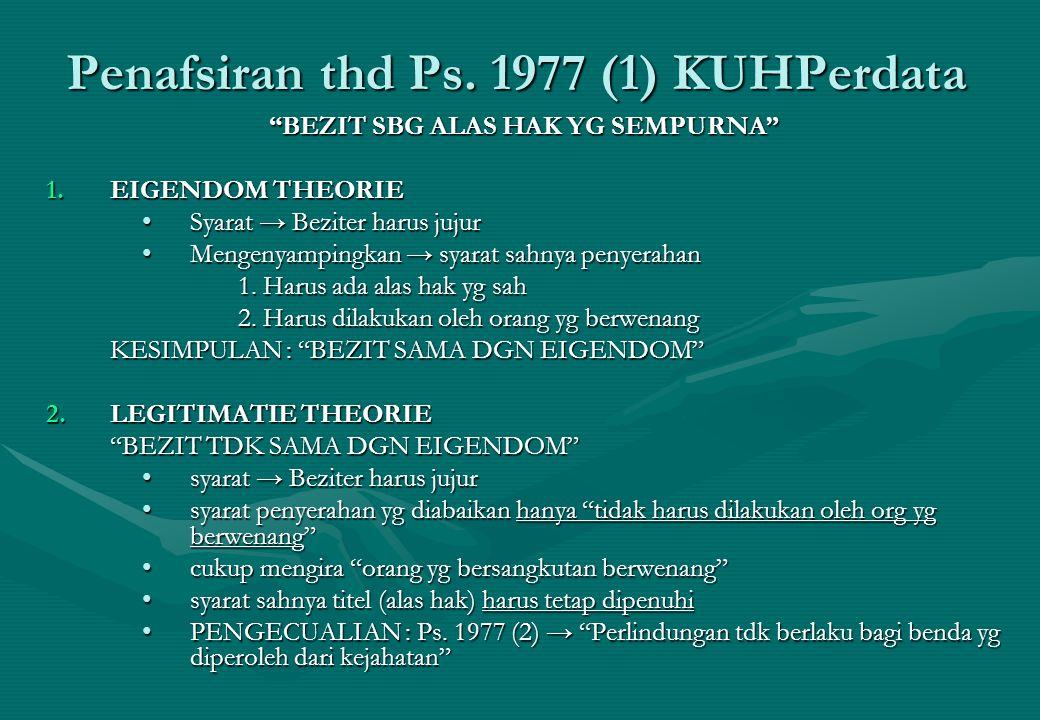 Penafsiran thd Ps. 1977 (1) KUHPerdata