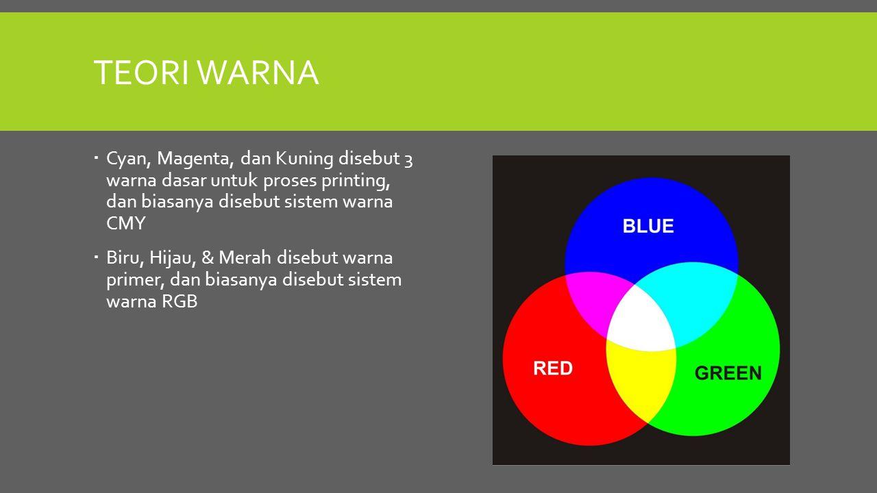 Teori Warna Cyan, Magenta, dan Kuning disebut 3 warna dasar untuk proses printing, dan biasanya disebut sistem warna CMY.