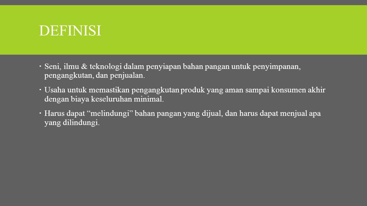Definisi Seni, ilmu & teknologi dalam penyiapan bahan pangan untuk penyimpanan, pengangkutan, dan penjualan.