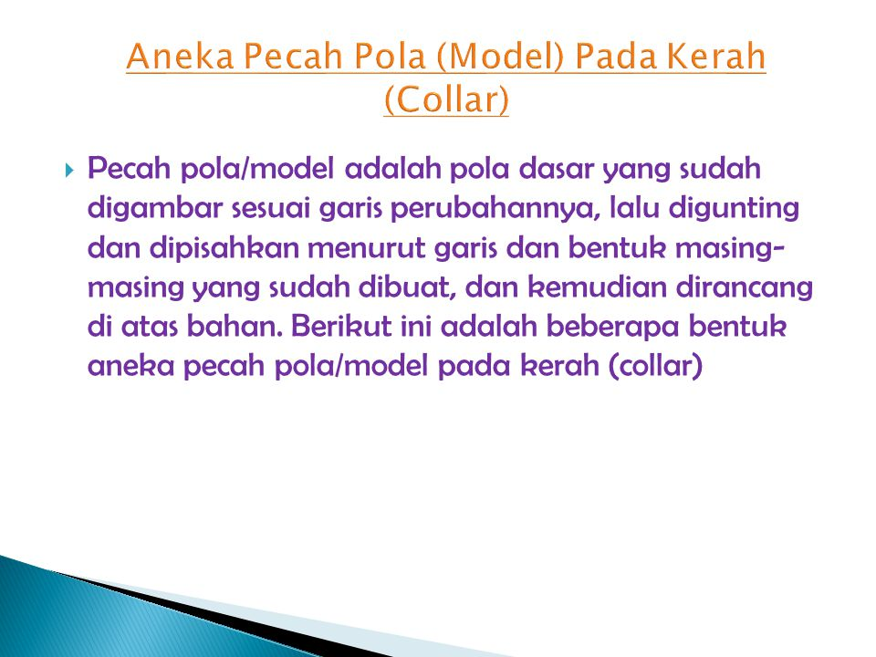 Aneka Pecah Pola (Model) Pada Kerah (Collar)