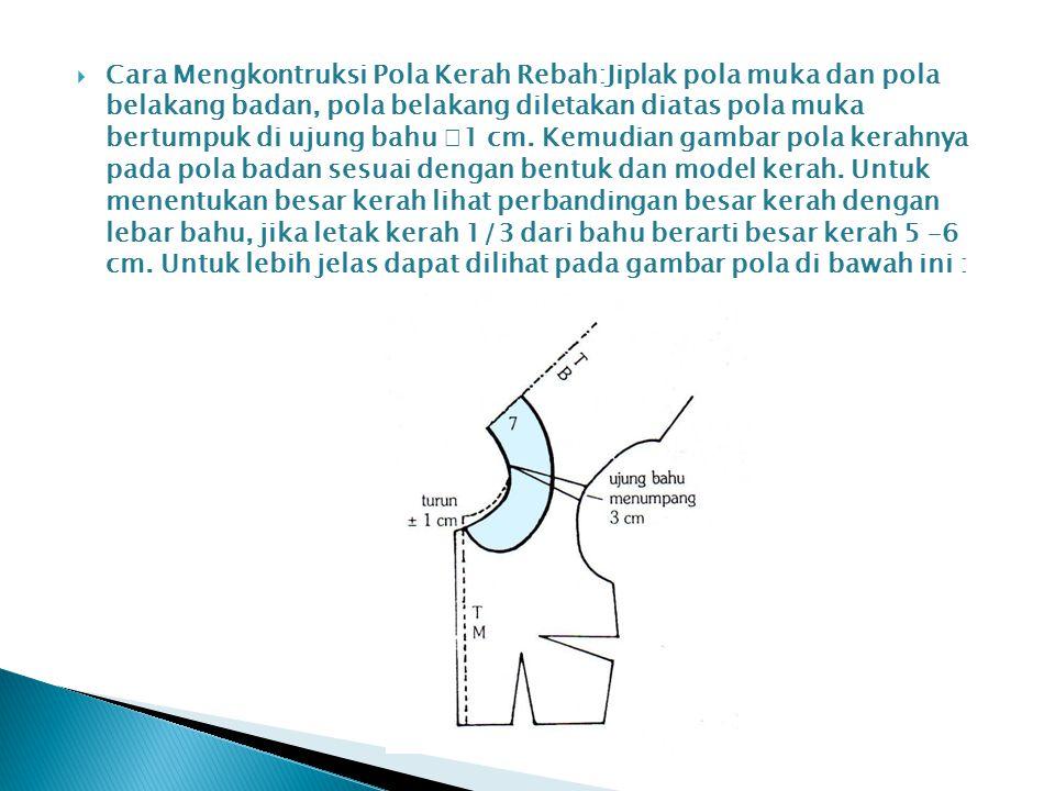 Cara Mengkontruksi Pola Kerah Rebah:Jiplak pola muka dan pola belakang badan, pola belakang diletakan diatas pola muka bertumpuk di ujung bahu 1 cm.