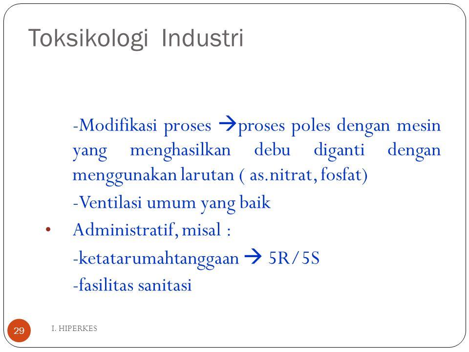 E. TOKSIKOLOGI INDUSTRI