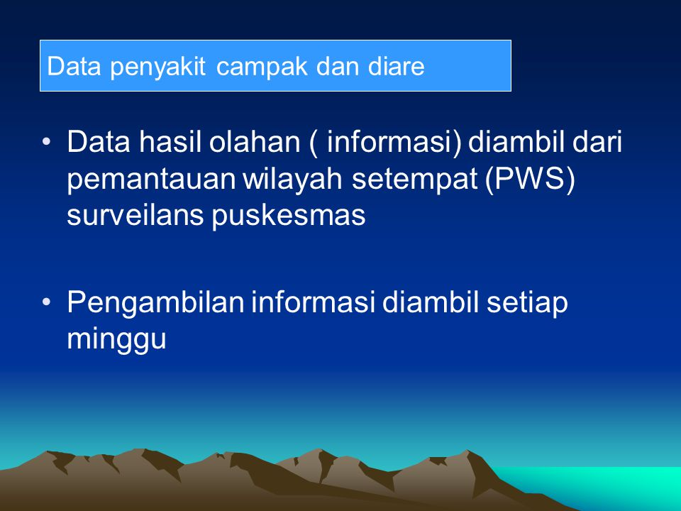 Pengambilan informasi diambil setiap minggu